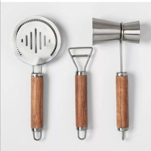 PROJECT 62 Stainless Steel Wood 3pc. Barware